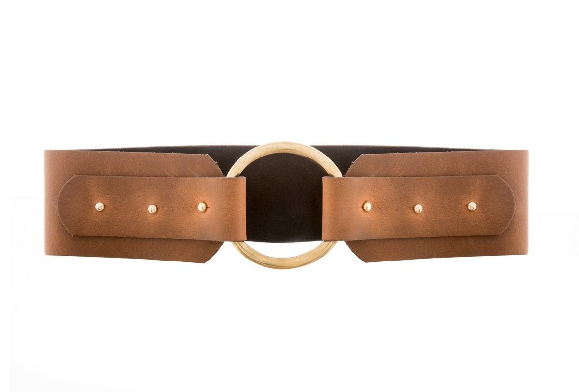 f03085819 Lily Brass Ring Buckle Tan Wide Waist Belt | Black & Brown London