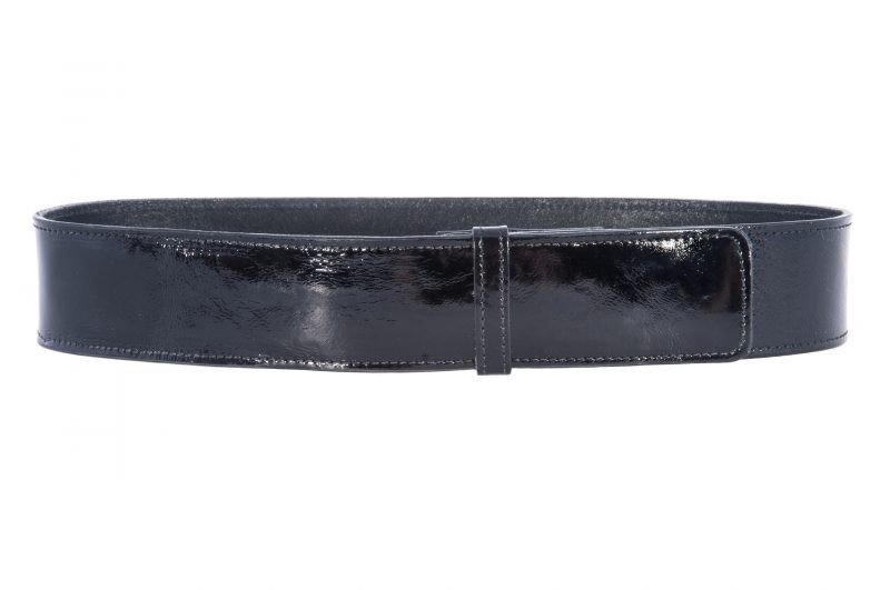 wide black patent leather waist belt