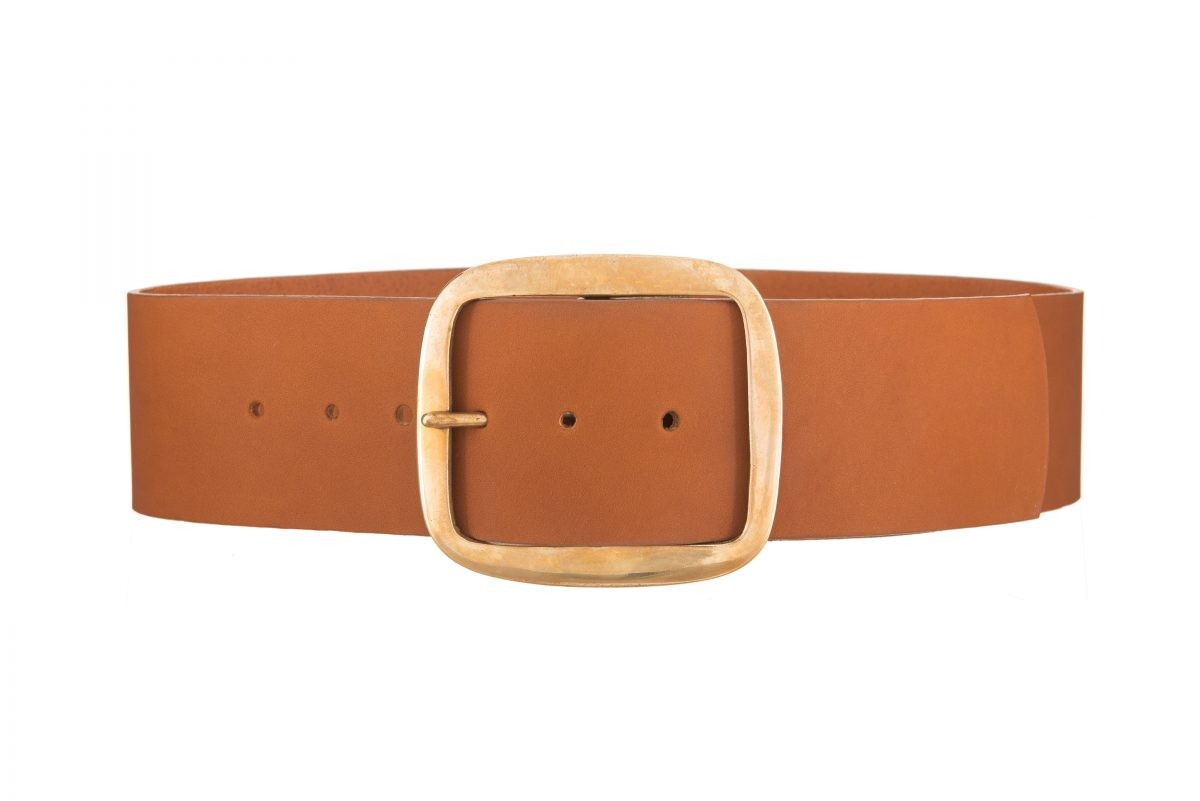 60c27e899 Liana Brass Buckle Tan Wide Waist Belt | Black & Brown London