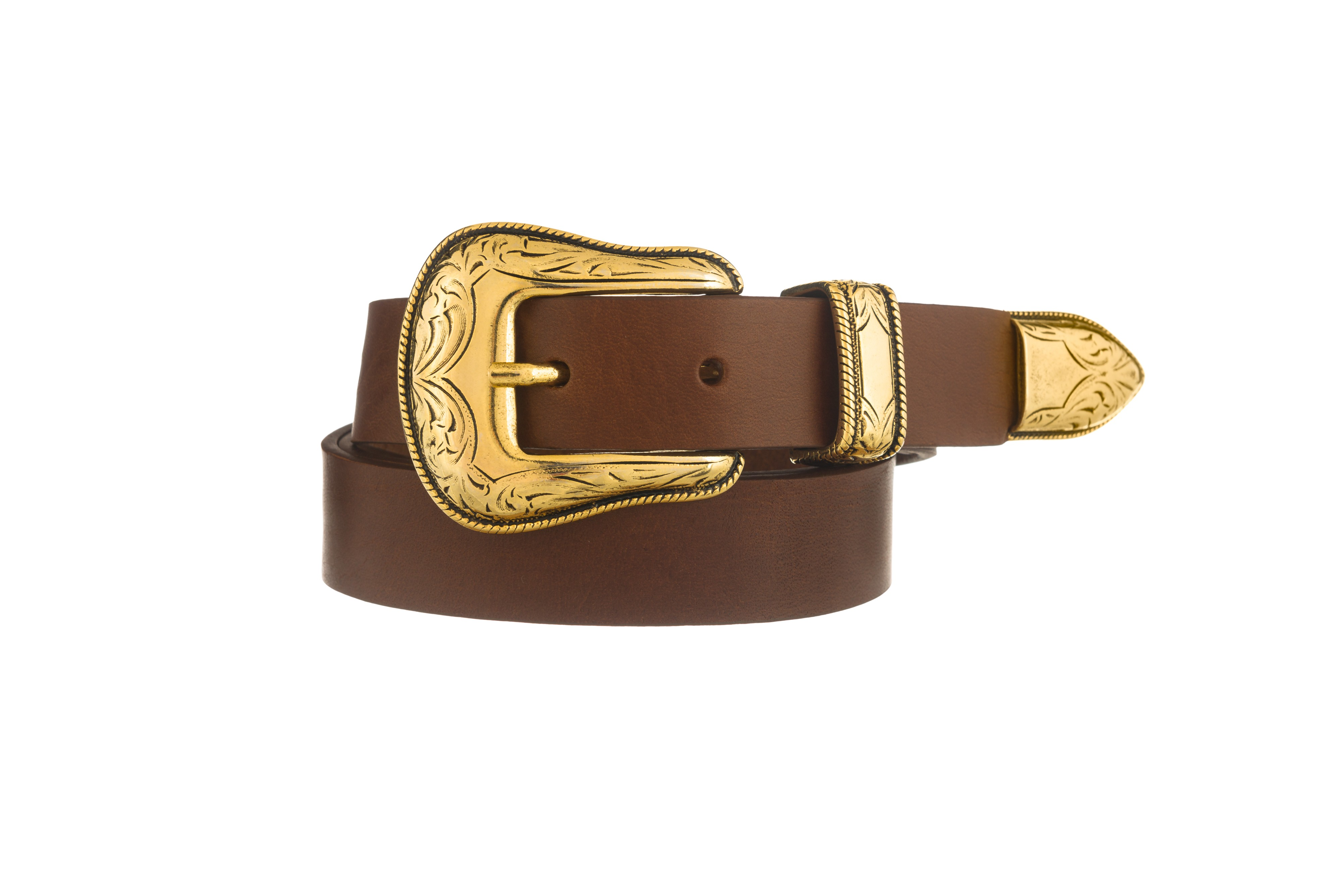 CLAUDIA WESTERN GOLD BUCKLE BROWN SKINNY JEANS BELT