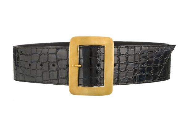 Maria Brass Buckle Wide Black Croc Patent Belt