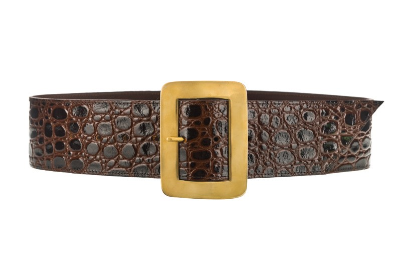 Maria brown croc waist belt gold buckle