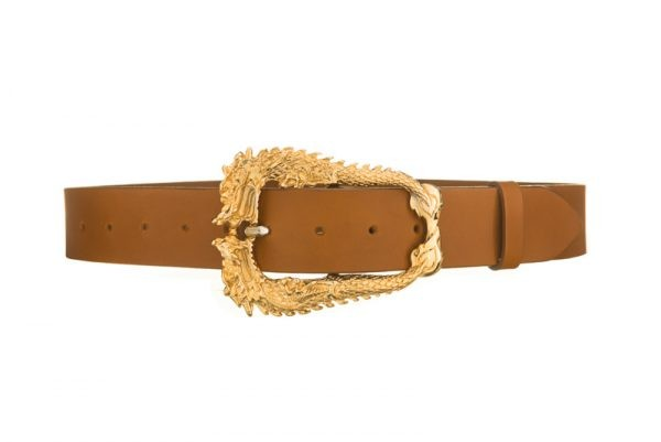 Gold dragon buckle tan leather belt