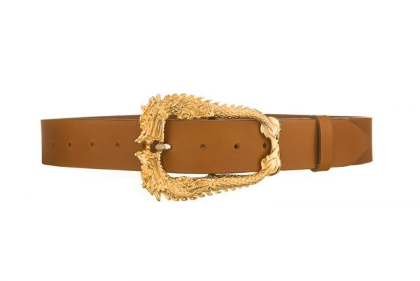 Gold buckle belt tan leather
