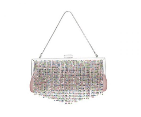 crystal fringe clutch multi colour
