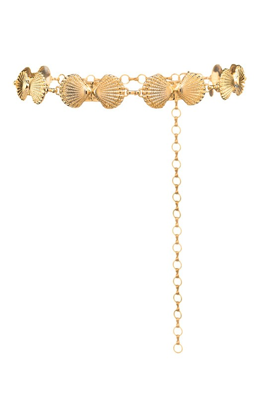 Shells gold chain belt