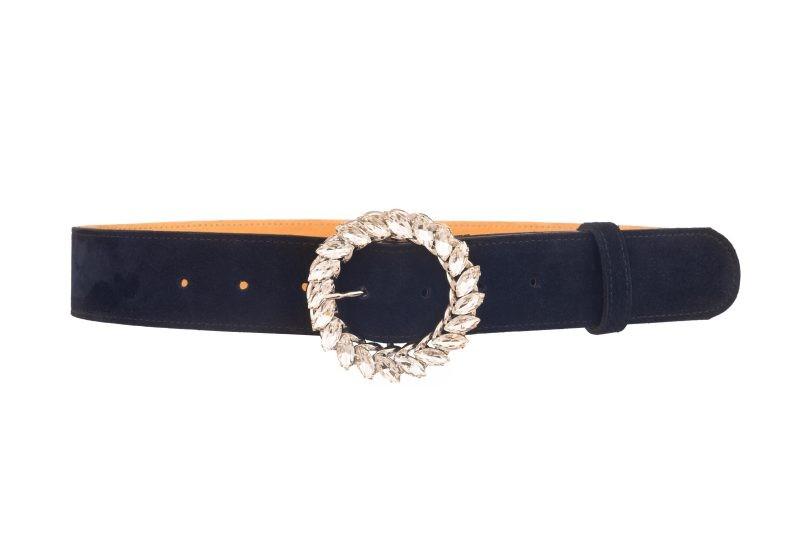 Jenna Navy suede belt
