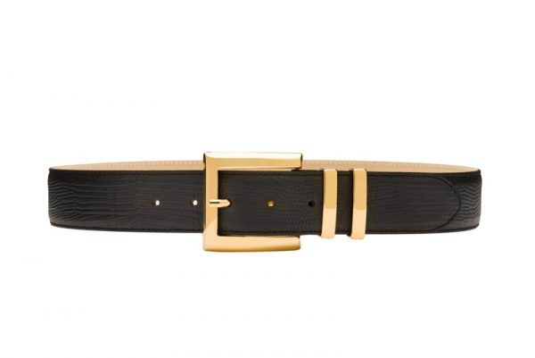 Black lizard print gold buckle waist belt