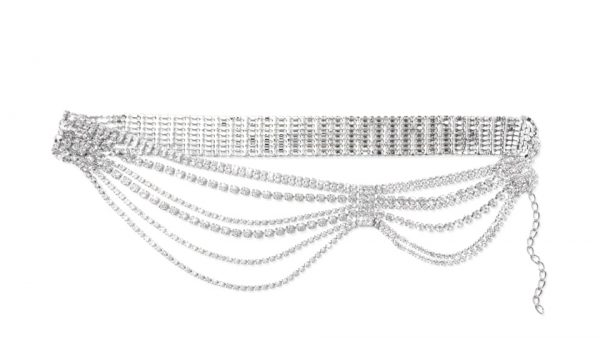 Draped crystal belt