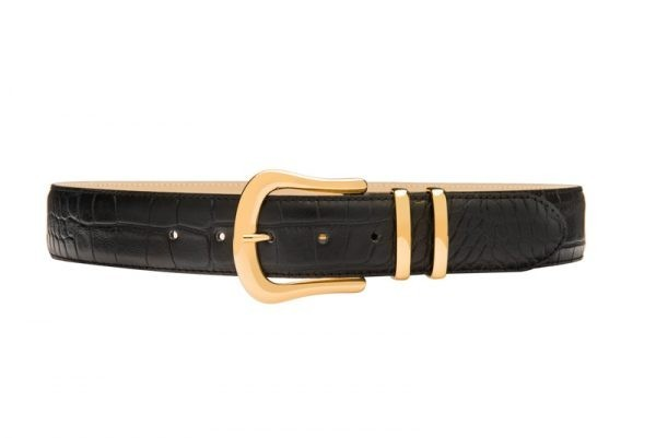 Black croc print leather waist belt