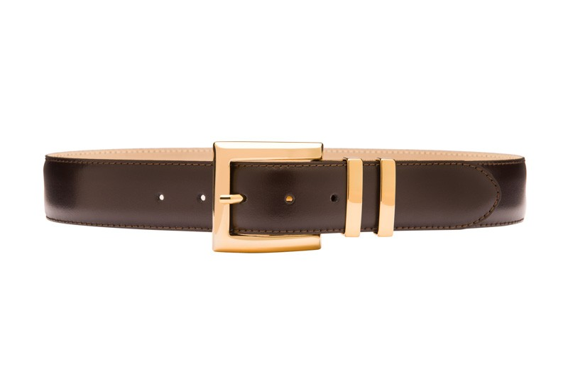 Brown leather belt with gold buckle