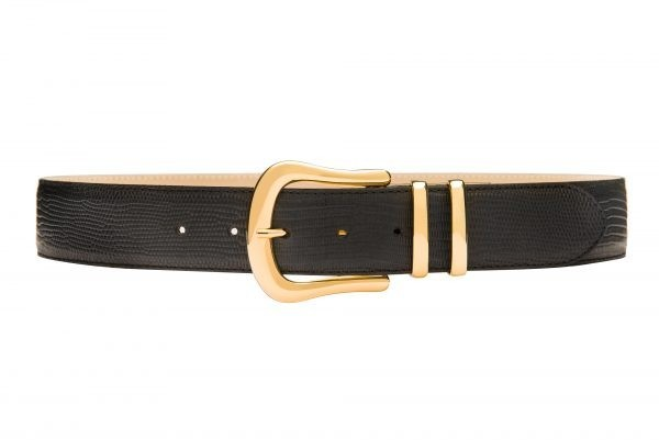 Lizard printed leather waist belt