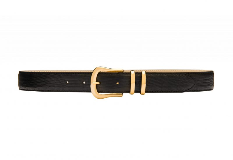 Marina slim black lizard print belt